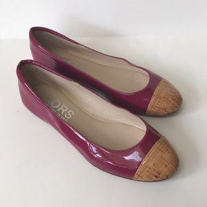 Michael Kors pink patent cap toe flats ballet Sz 7